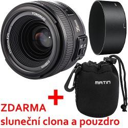Objektiv Yongnuo 35mm f/2 Nikon + sluneční clona, pouzdro a doprava ZDARMA!