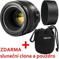 Objektiv Yongnuo 50mm f/1.8 Nikon + sluneční clona, pouzdro a doprava ZDARMA!